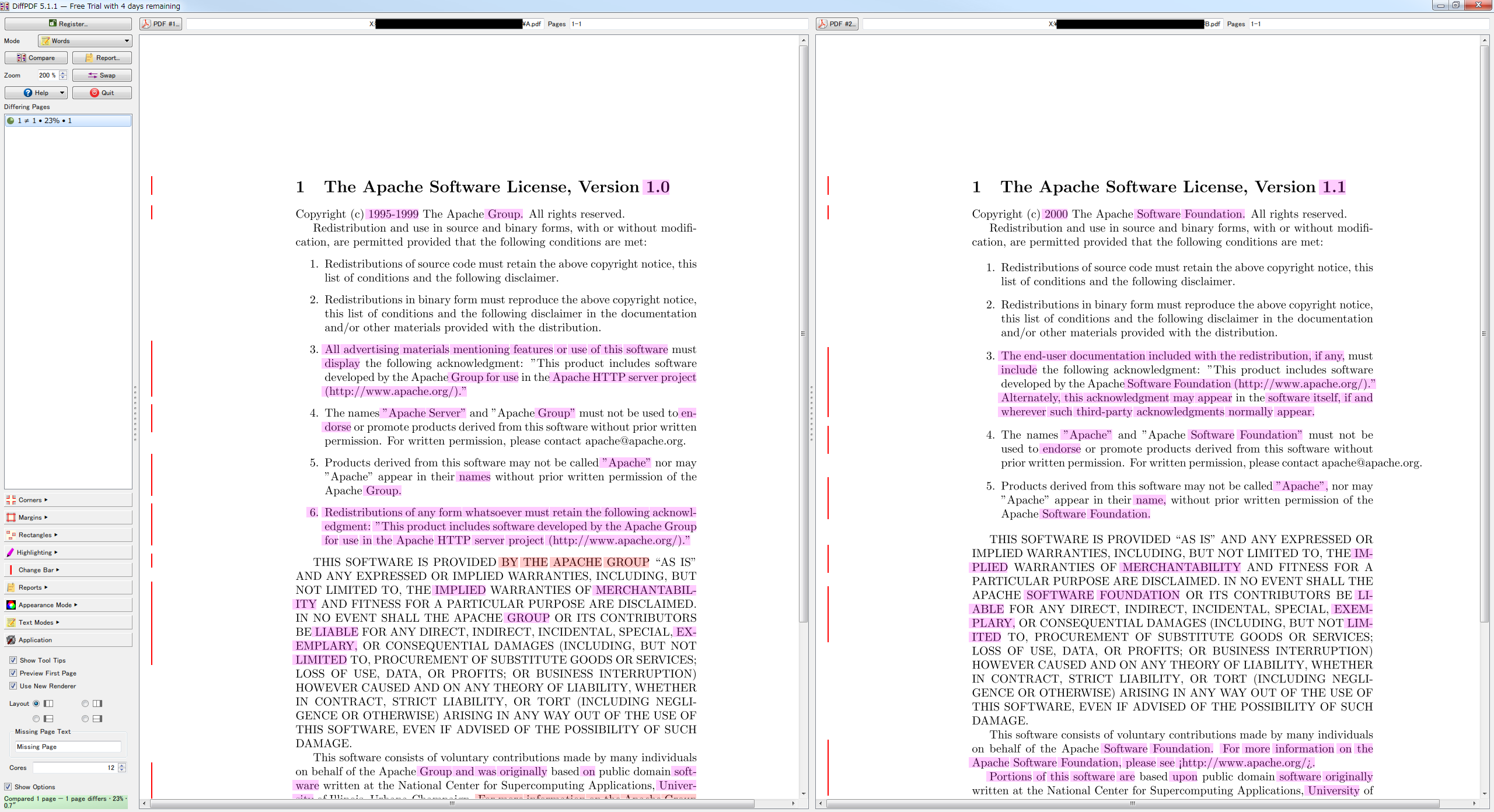 pdf 内容 比較 フリー