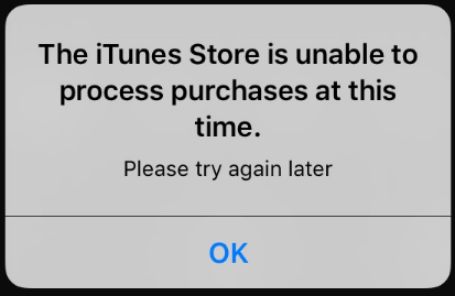 iPhoneで「The iTunes Store is unable to process purchases at this