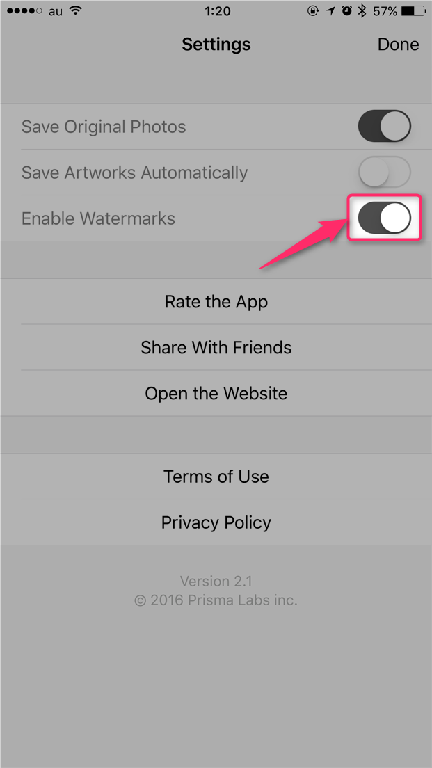 prisma-hide-watermark-turn-off-enable-watermarks
