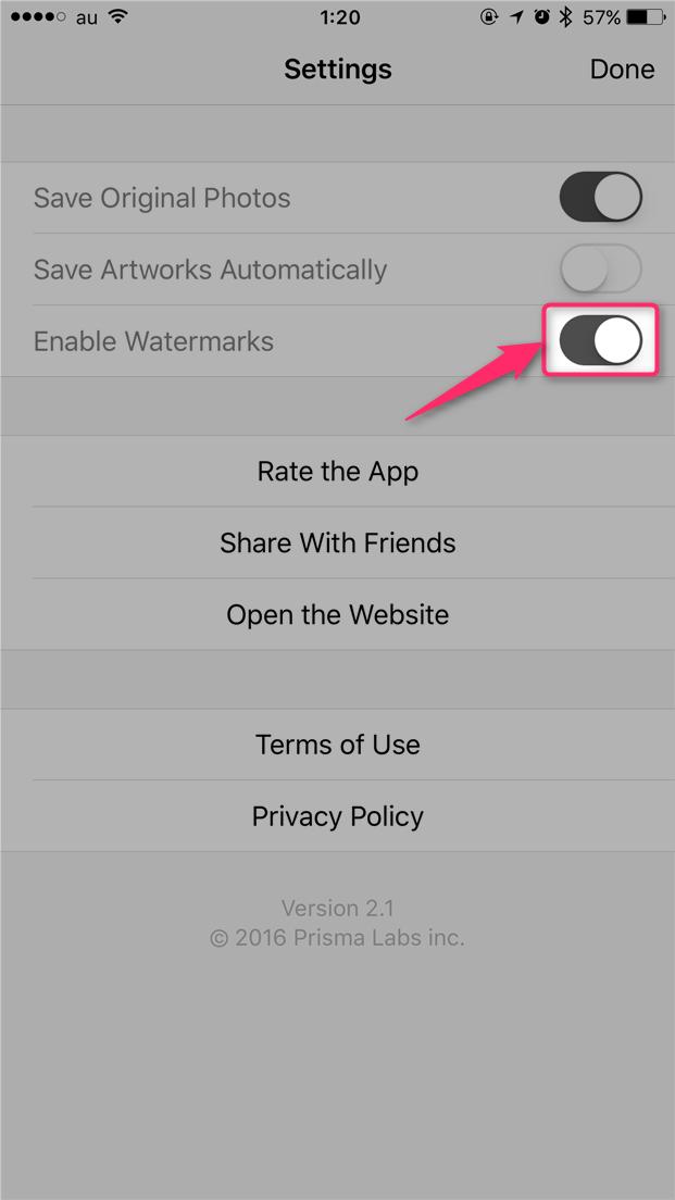 prisma-hide-watermark-turn-off-enable-watermarks