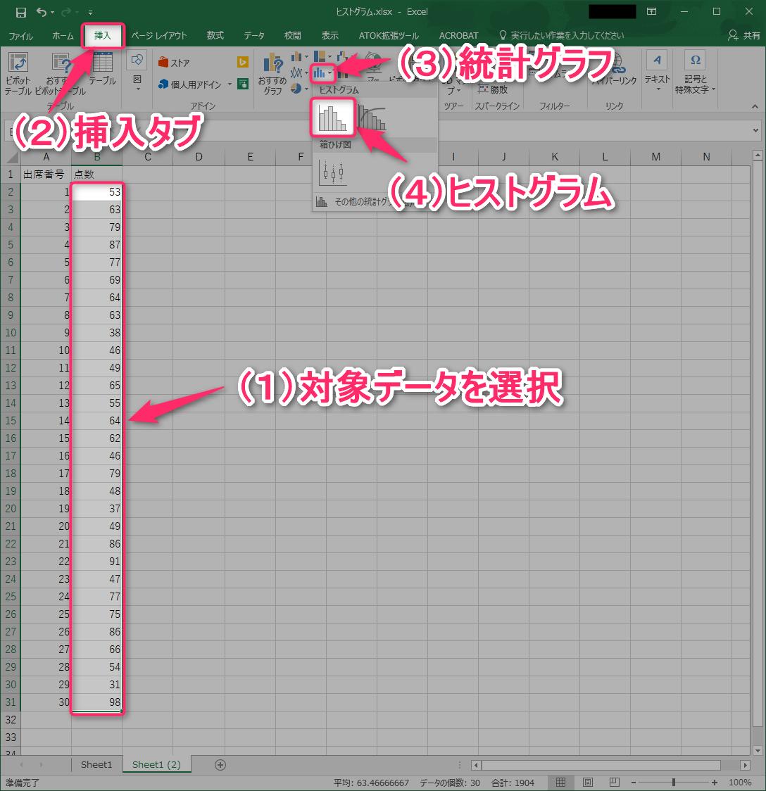 Excelでヒストグラムを作る最新の方法(Excel 2016~)