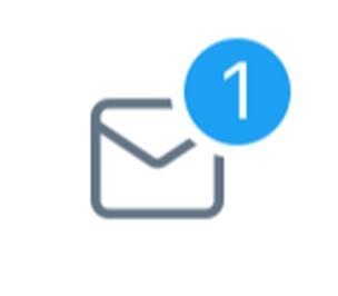 DM新着メッセージがあると、DMタブのマークに通知数バッジが表示されます。次の画像の場合は、「1件DMが届いています」という意味です:
